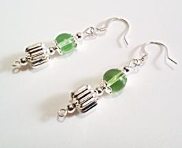 Green Earrings, Green and Silver Beaded Dangle Earrings, Glass Bead Jewelry - $13.00