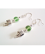 Green Earrings, Green and Silver Beaded Dangle Earrings, Glass Bead Jewelry - $13.00