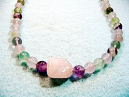 Purple and Pink Gemstone Necklace, Fluorite Stone Jewelry, Rainbow Fluor... - $33.00