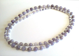 Natural Lilac Stone Necklace, Long Purple Beaded Necklace, White Glass Pearls - $34.00