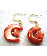 Carnelian Dangle Earrings,  Moon and Star Earrings, Astrological Jewelry - $16.00