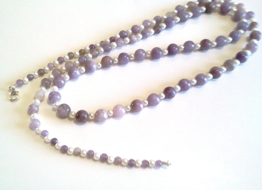 Natural Lilac Stone Necklace, Long Purple Beaded Necklace, White Glass Pearls