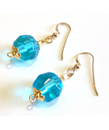 Aqua Blue Earrings, Faceted Glass Bead Earrings, Blue and Gold Beaded Je... - $18.00