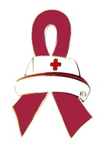 Burgundy Ribbon Nurse Cap Pin Awareness Medical Lapel Tac Tack Cancer Ca... - $13.97
