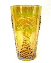 Carnival Glass Amber Harvest Fruit Opalescent Iridescent Drinking Glass ... - $58.77