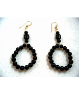 Black Earrings, Black Onyx Jewelry, Gemstone Beaded Hoops, Stone Bead Ea... - $21.00