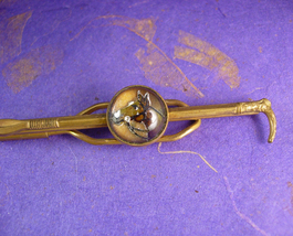 Long Cane Tie clip Vintage  Essex Glass Equestrian Cane Horse Men's Big ... - $85.00