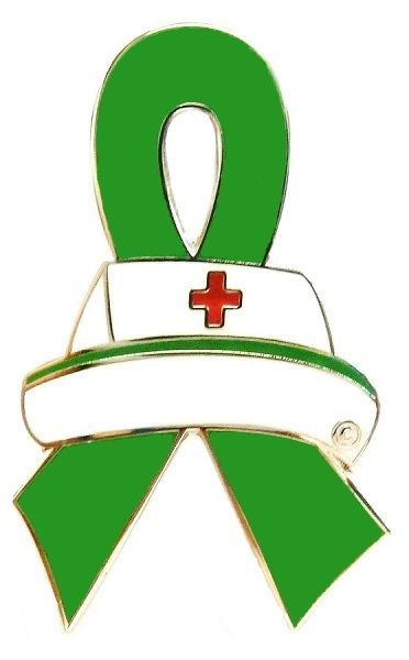 Primary image for Green Ribbon Nurse Cap Pin Awareness Medical Lapel Tac Tack Cancer Cause New
