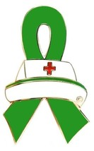 Green Ribbon Nurse Cap Pin Awareness Medical Lapel Tac Tack Cancer Cause... - $13.97