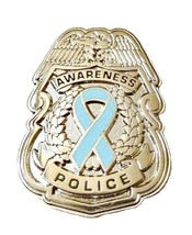 Light Blue Ribbon Pin Police Badge Awareness Security Sheriff Nickel Pla... - $13.97