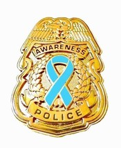 Light Blue Ribbon Pin Police Badge Awareness Security Sheriff Gold Plate... - $13.97