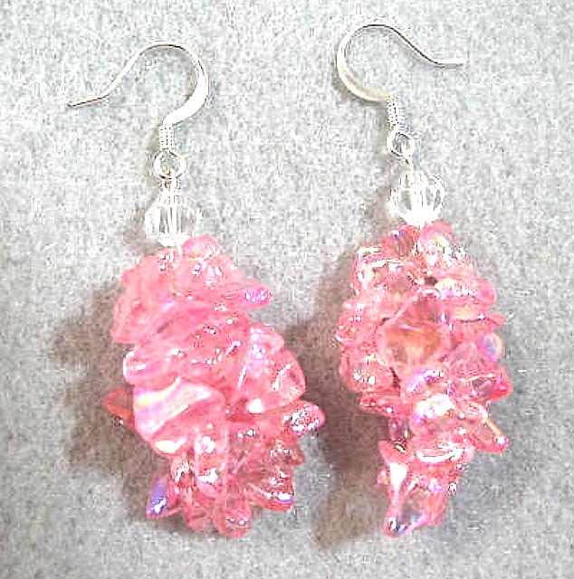 Primary image for Pink Earrings, Feminine Jewelry, Glass Chip Bead Dangle Earrings, Pink Jewelry