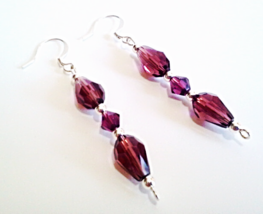 Beaded Purple Earrings, Plum Color Faceted Glass Teardrops, Bead Dangle ... - $15.00