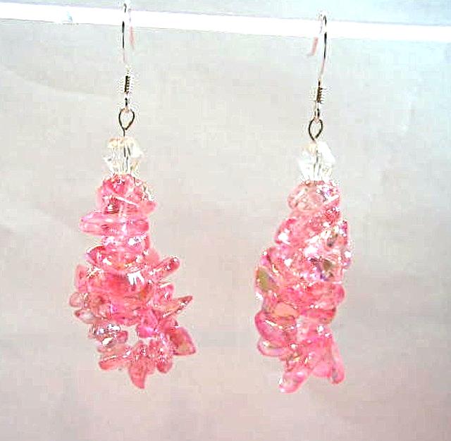 Pink Earrings, Feminine Jewelry, Glass Chip Bead Dangle Earrings, Pink Jewelry