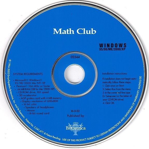 Primary image for Britannica Math Club (PC-CD, 2003) for Windows - NEW CD in SLEEVE