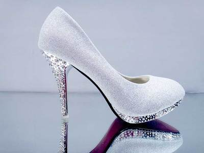 Primary image for pp076 Shimmering bling bling crystal heels size 34-39, silver