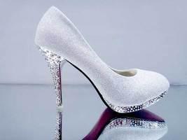 pp076 Shimmering bling bling crystal heels size 34-39, silver - $48.80
