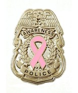 Pink Ribbon Police Badge Breast Cancer Awareness Collar Cap Silver Plate... - $13.55