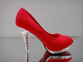 pp076 Shimmering bling bling crystal heels size 34-39, red - $48.80