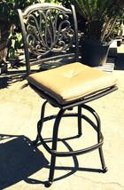 Outdoor bar stools set of 3 swivel patio aluminum furniture Elisabeth Bronze image 2