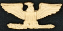 Set of 2 Colonel Eagle Collar Pin Devices US Military Rank Gold Pin 906 New - $15.81