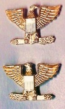 Set of 2 Colonel Eagle Collar Pin Devices US Military Rank Gold Pin 906 New image 6