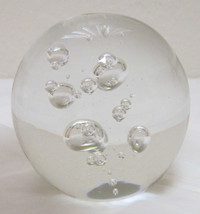 Paperweight Larson Crystal Cosmos Clear Bubbles Made USA - $19.99