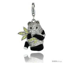 Sterling Silver Panda Bear Charm for Bracelet, 15/16 in. (24 mm) tall, Black  - $96.29