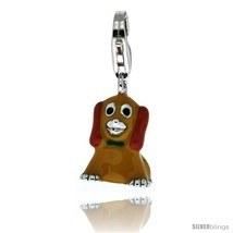 Sterling Silver Sitting Puppy Dog Charm for Bracelet, 5/8 in. (16 mm) tall,  - $30.80