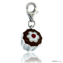 Sterling Silver Chocolate Cupcake Charm for Bracelet, 1/2 in. (13 mm) tall,  - $29.47