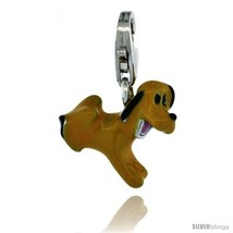 Sterling Silver Puppy Dog Charm for Bracelet, 1/2 in. (12.5 mm) tall, Enamel  - $19.84