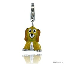 Sterling Silver Sitting Puppy Dog Charm for Bracelet, 5/8 in. (16 mm) tall,  - $30.36
