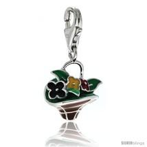 Sterling Silver Multi-Color Flower Basket Charm for Bracelet, 11/16 in. (17.5  - $32.02