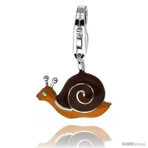 Sterling Silver Snail Shell Charm for Bracelet, 9/16 in. (15 mm) wide, Brown  - $24.66