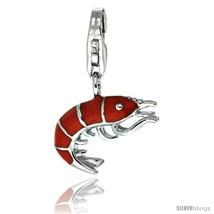 Sterling Silver Shrimp Charm for Bracelet, 5/8 in. (16 mm) tall, Enamel Finish  - $21.94