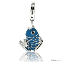 Sterling Silver Fish Charm for Bracelet, 11/16 in. (17 mm) tall, Enamel  - $28.85