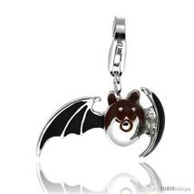 Sterling Silver Bat Charm for Bracelet, 13/16 in. (21 mm) wide, Black Enamel  - $25.61