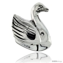 Sterling silver swan bead charm for most charm bracelets thumb200