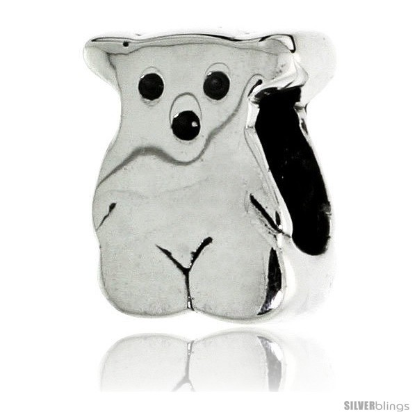 Sterling silver teddy bear bead charm for most charm bracelets style pdr120