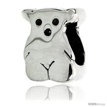 Sterling Silver Teddy Bear Bead Charm for most Charm Bracelets -Style  - $17.96