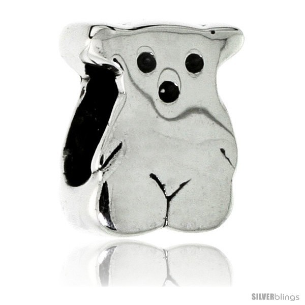 Sterling Silver Teddy Bear Bead Charm for most Charm Bracelets -Style