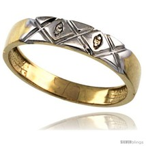Size 9.5 - Gold Plated Sterling Silver Mens Diamond Wedding Ring 3/16 in wide  - $80.89