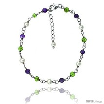 Sterling silver Pearl Bracelet Freshwater w/ Amethyst and Peridot Beads ... - $60.65