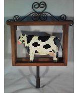 Wooden COW Wall Hook For Keys Or Coat BARNYARD Animal Wood Iron Metal (#35114) - $6.00