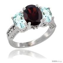 10k white gold ladies natural garnet oval 3 stone ring aquamarine sides diamond accent thumb200