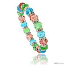7 in. Multi Color Faceted Glass Crystal Bracelet on Elastic Nylon Strand (  - $12.25