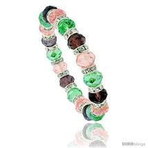 7 in Multi Color Faceted Glass Crystal Bracelet on Elastic Nylon Strand ( Pink  - $12.25