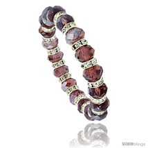 7 in. Amethyst Color Faceted Glass Crystal Bracelet on Elastic Nylon Str... - $12.25