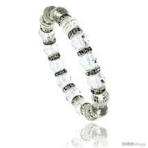 7 in. Faceted Glass Crystal Bracelet on Elastic Nylon Strand, 3/8 in. (10 mm)  - $12.25