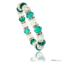 7 in. Clear & Emerald Color Faceted Glass Crystal Bracelet on Elastic Nylon  - $12.25